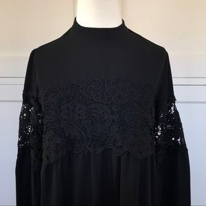 NWT Express Black Top with Lace Detail